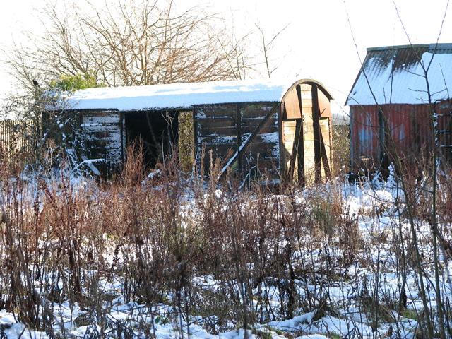Ex-railway goods van by Beckett's Wood