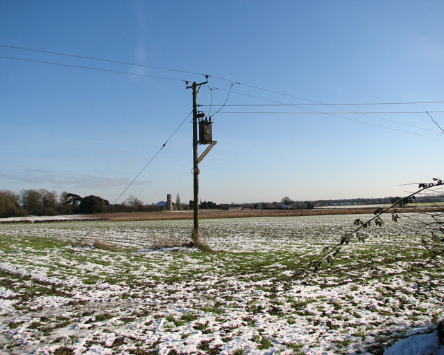 Transformer in snowy field east of Shotesham Road