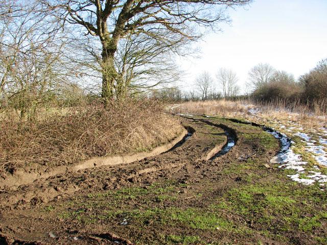 Deep ruts on farm track