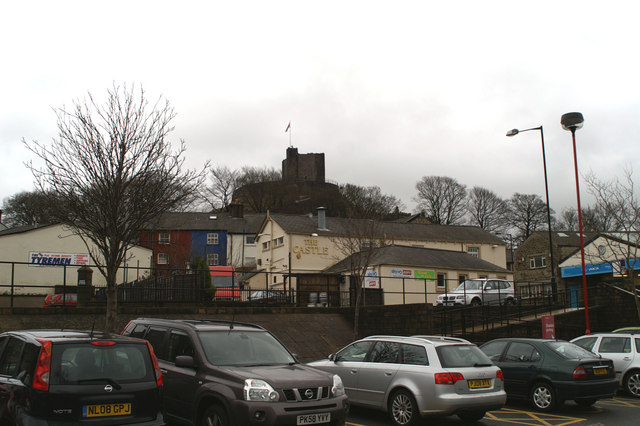 Clitheroe's two Castles, from Booths' car park