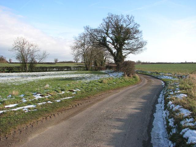 Snowy fields beside Swargate Lane
