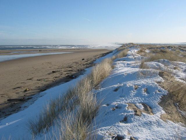 Snowscene at Coatham sand dunes