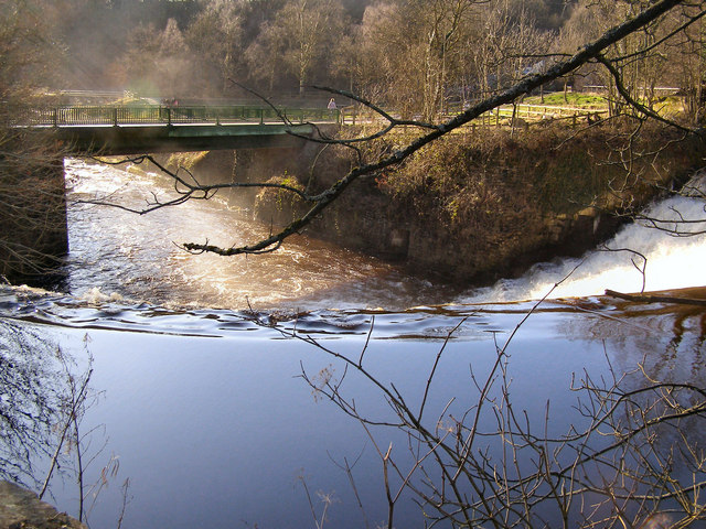River Etherow, weir and bridge