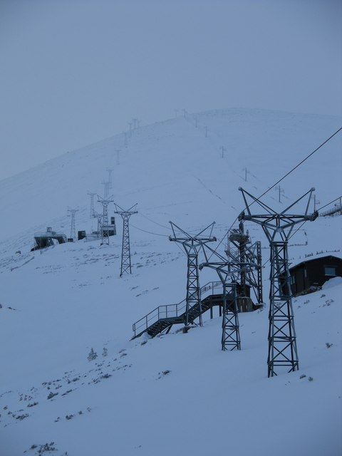 Chairlifts march up the Stron an Aonaich