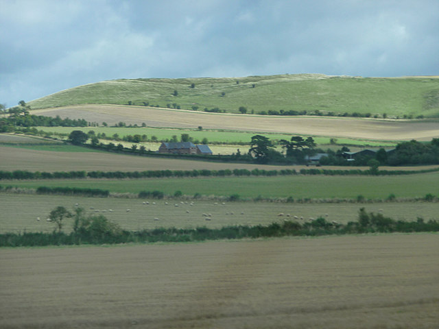 Farmland in front of Liddington Castle