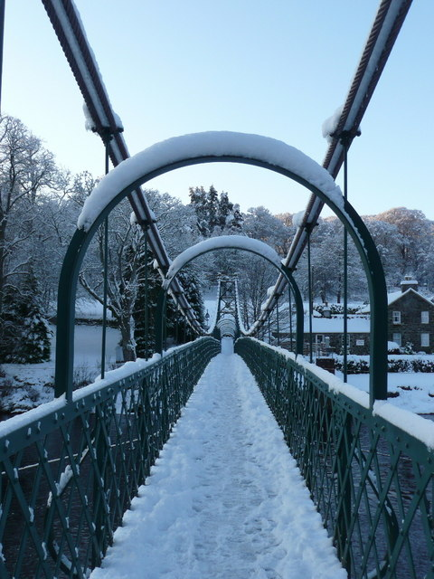 Snow on the Suspension Footbridge (1)