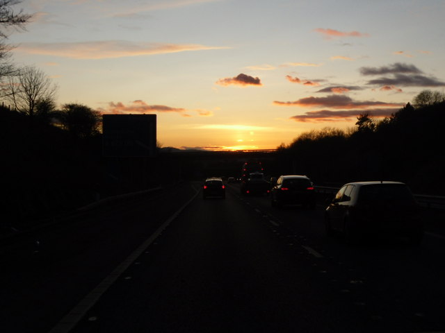 Sunset on the M90 from Arlary
