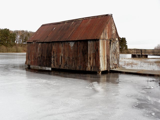 The Lindean Boathouse rises out from the ice