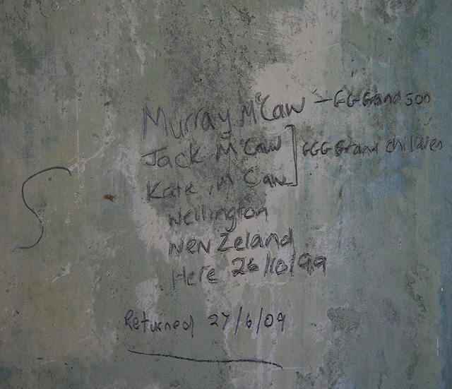 Graffiti on the walls of Cormilligan Cottage