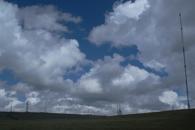 The transmitter masts on Winter Hill