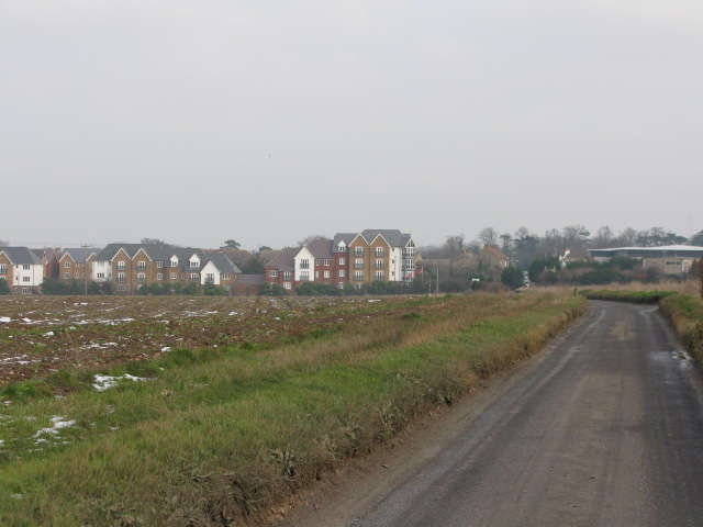 View along unnamed road in direction of Nash Road