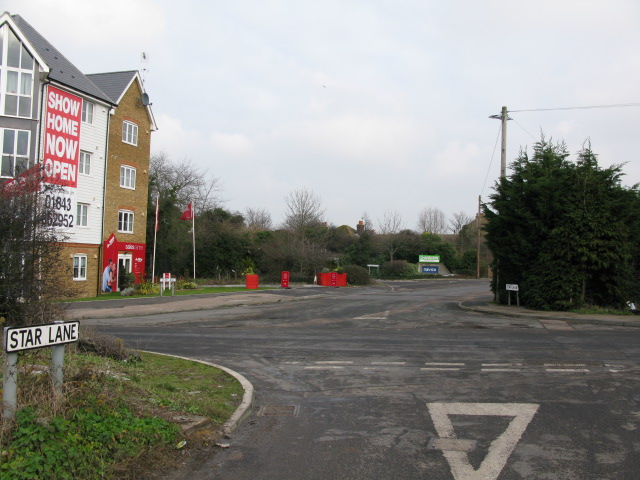 Junction of Star Lane with Nash Road