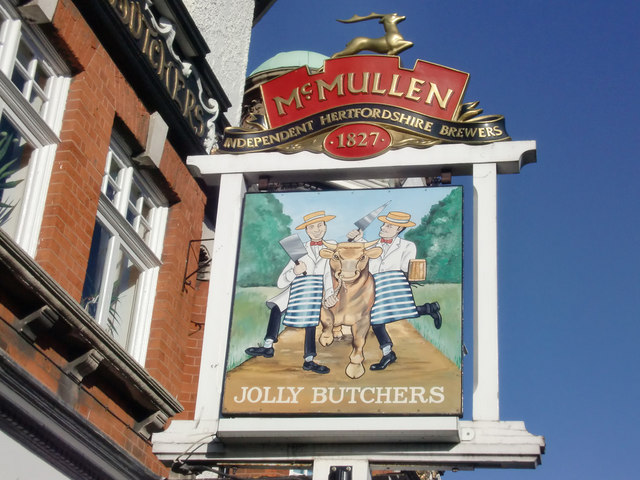 Sign for Jolly Butchers Public House, Baker Street, Enfield