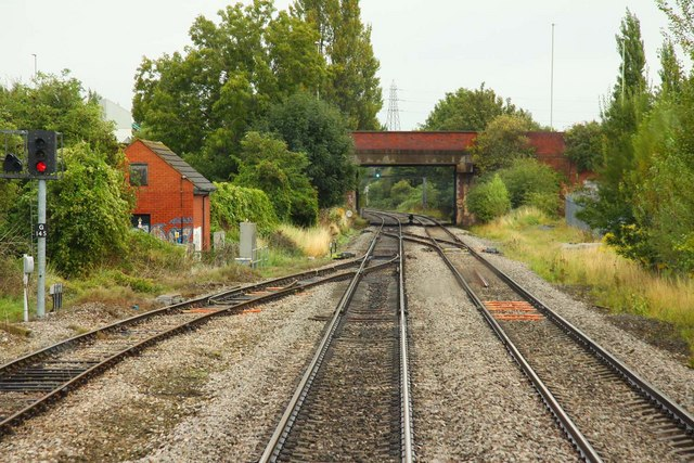 The Up Goods Loop exits near Tewkesbury Bridge