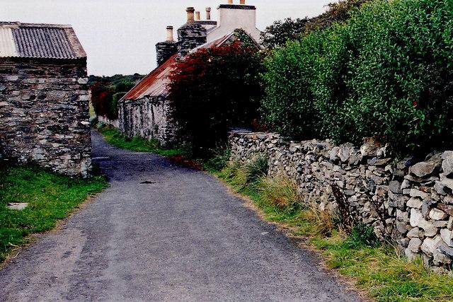 Cregneash Village - Village lane and buildings off A31