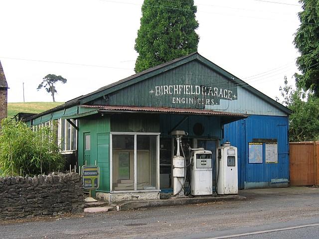 Old garage at Much Wenlock