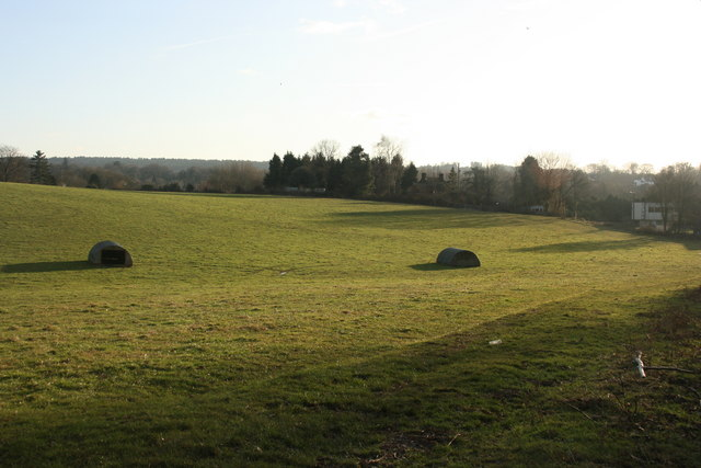 Pig huts in a field by the Vanguard Way