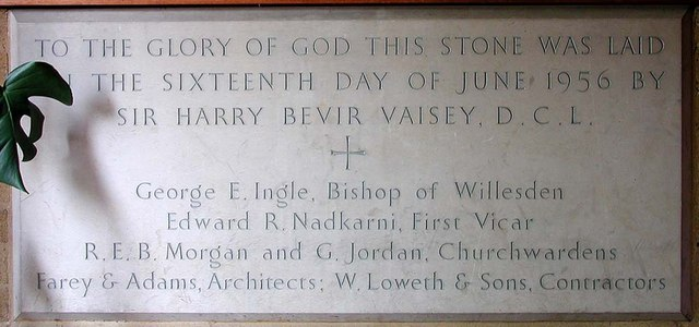 St Andrew, Malvern Avenue, Harrow - Foundation stone