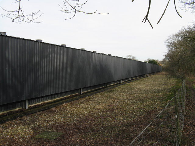 Side view of chicken shed at poultry farm near Broadford Bridge
