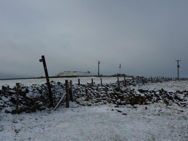 Sough Top Reservoir, with telecom masts
