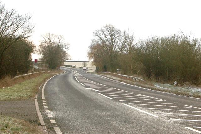 Looking southeast along the A45 near Wolscott Bridge