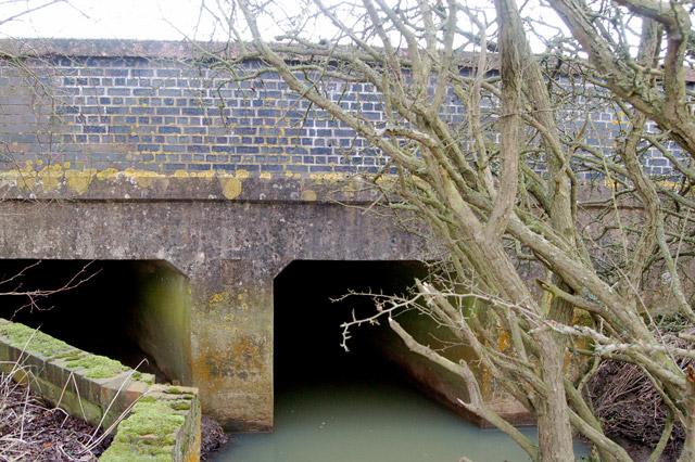 Wolscott Bridge carrying the A45 road over Rains Brook