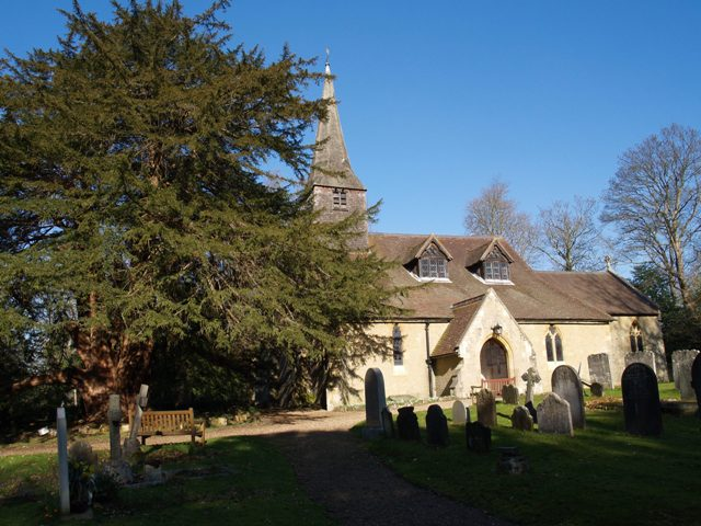 Tandridge Church and its enormous ancient yew tree