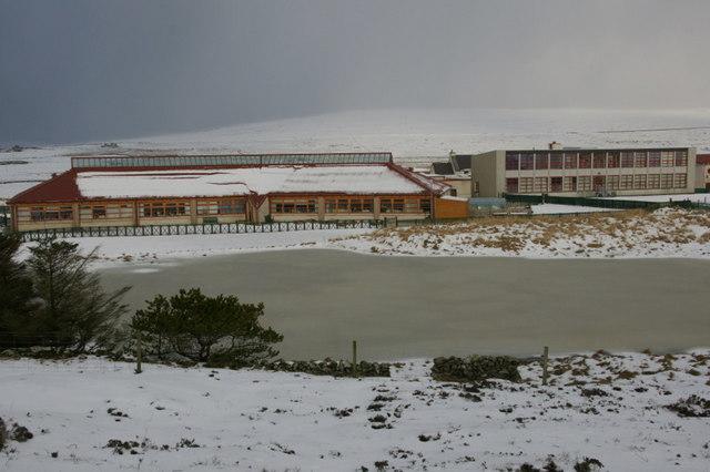 Baltasound Junior High School in the snow