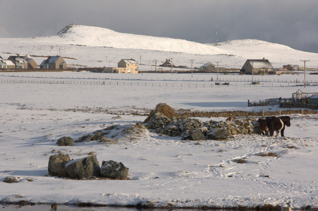 View towards the Heogs in the snow, Baltasound