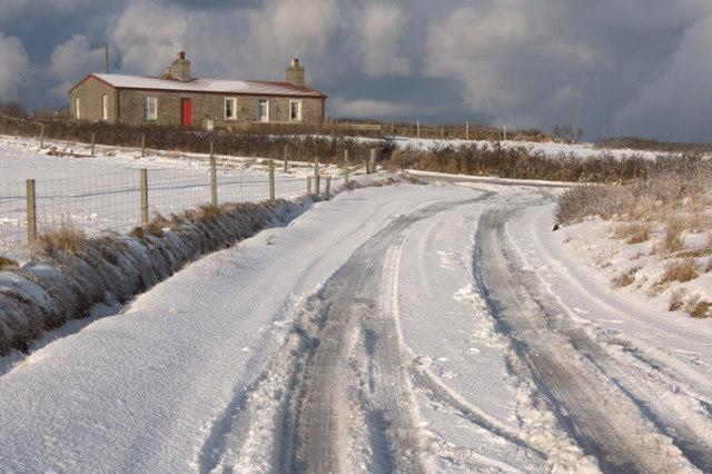 Millbrae, Baltasound, in the snow