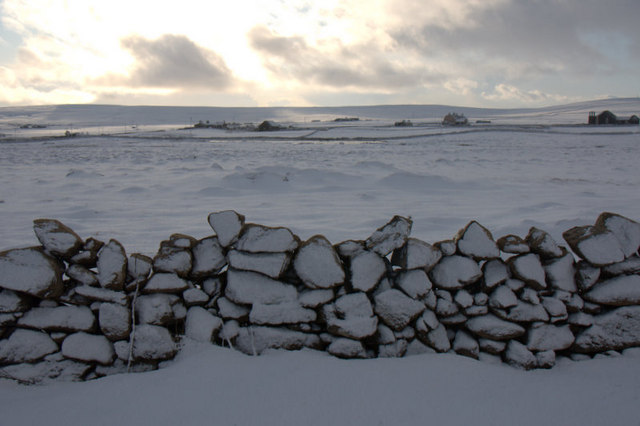 View south in the snow from Nikkavord Lea, Baltasound