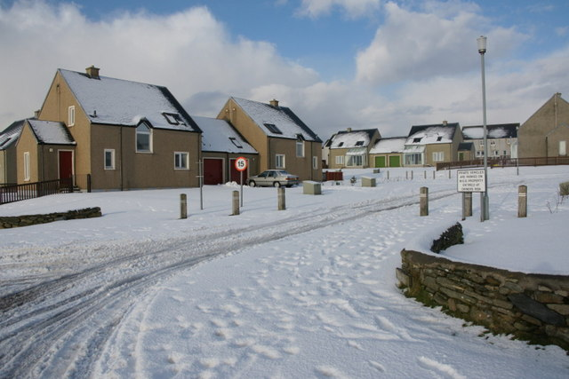 Setters Hill Estate, Baltasound, in the snow