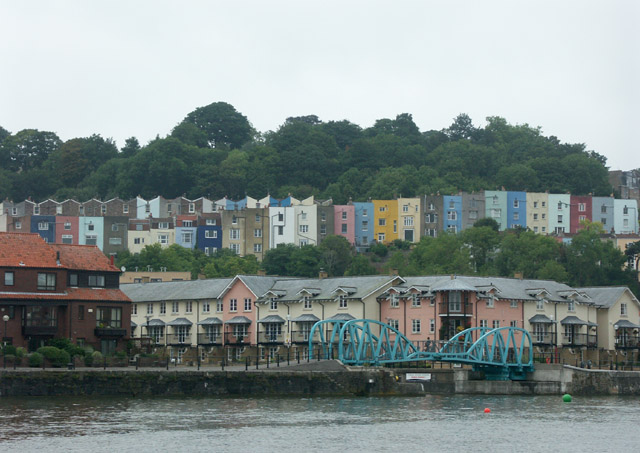 Multi-coloured houses above the quay