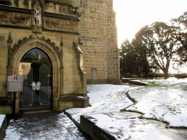 The north porch and churchyard of All Saints Gresford