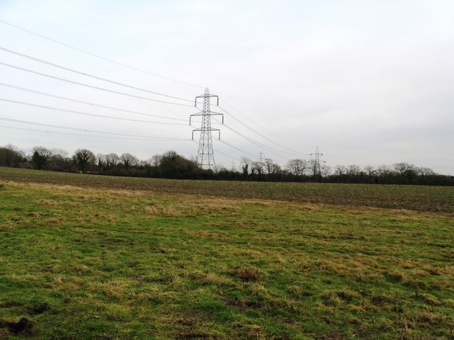Pylons across fields south of Orchard Farm