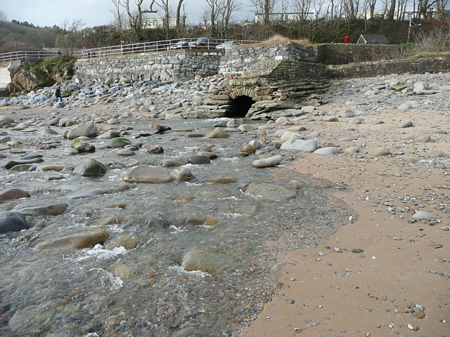 Stream across the beach at Wiseman's Bridge