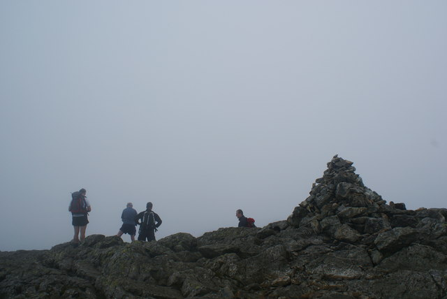 The summit cairn on Wetherlam