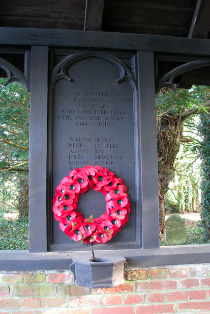 War memorial in lych gate at All Saints church