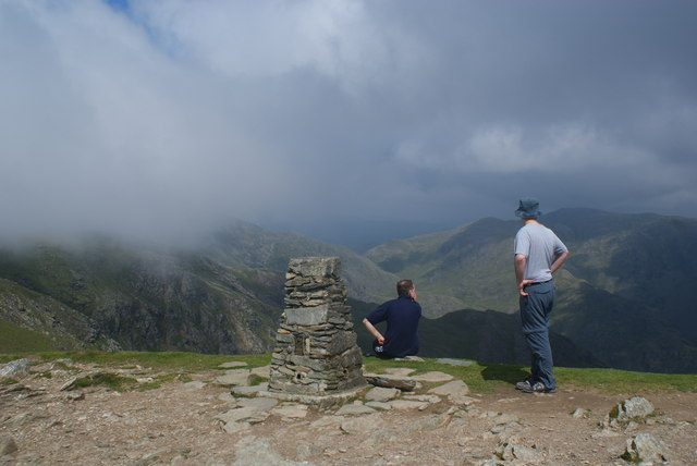 The trig point on the Old Man of Coniston