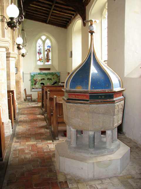 All Saints church - Norman font in south aisle