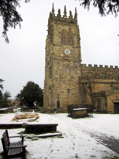 The newly restored tower of All Saints' church, Gresford