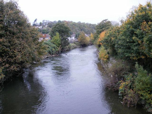 Looking upstream along the River Ogmore, Bridgend