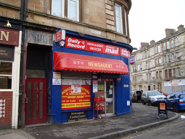 Newsagents shop at corner of Harley St and Ibrox St
