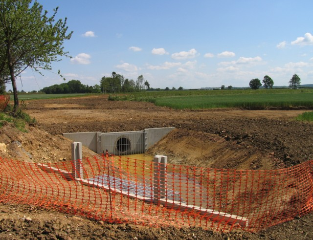 New culvert adjacent to building site in the Broughton area of Milton Keynes