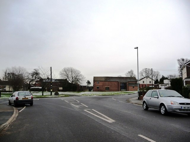 Grime Lane's junction with The Green, Sharlston