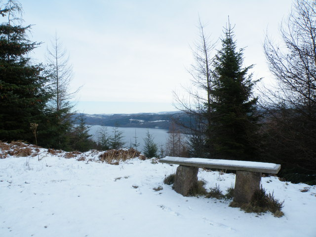 View point on Great Glen Ways looking over Loch Ness
