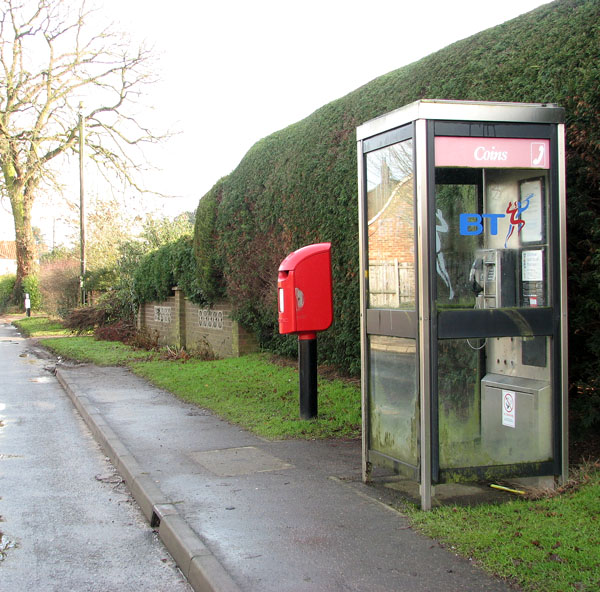Telephone and postbox in School Lane