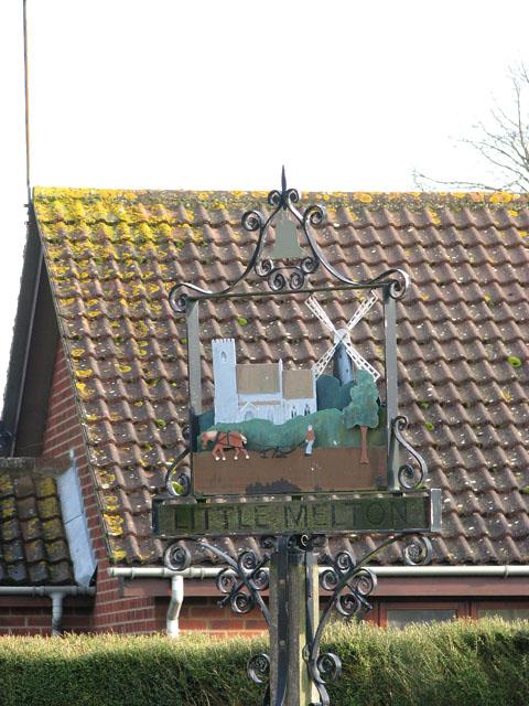 Little Melton village sign (close-up)