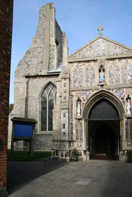 The entrance porch and tower of the Parish Church of St. Nicholas