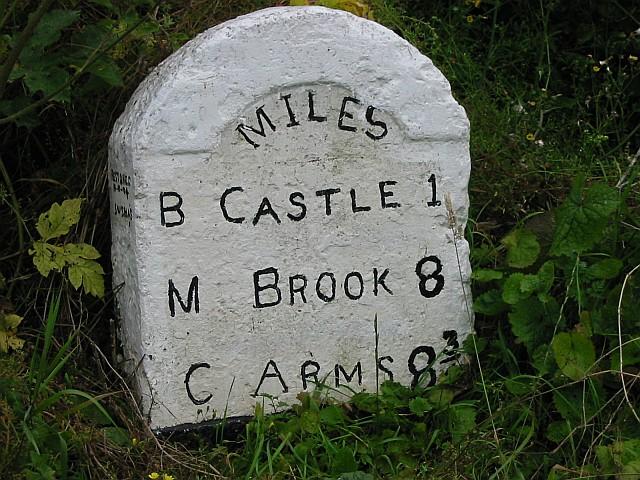 Milestone on minor road to Lea